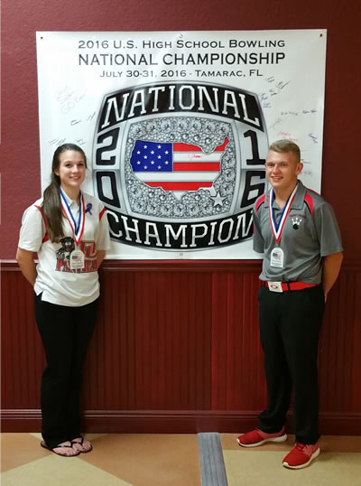 Emma Owens & McKinley Knopp are both from Kentucky and are both Singles National Champions - 2016 U.S. High School Bowling National Championship, Tamarac, Florida (hosted by the U.S. High School Bowling Foundation - www.ushsbf.org)